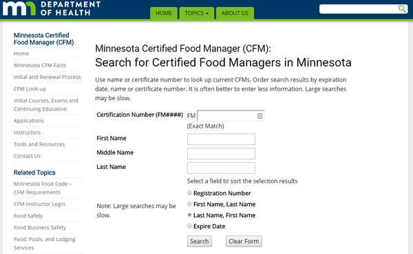 MN Food Manager Lookup Tools